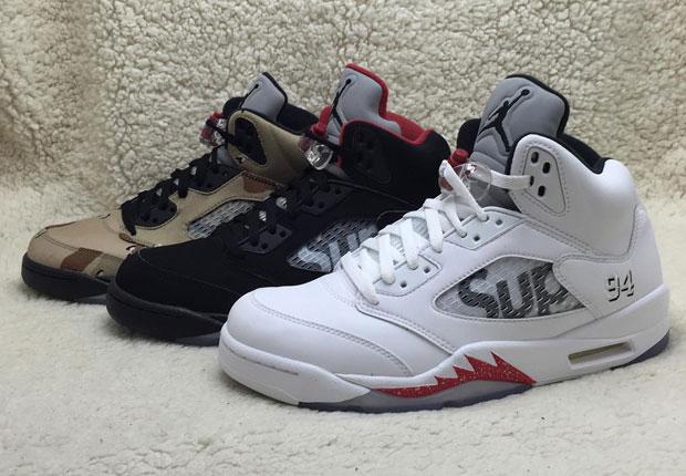 Supreme x Nike Air Jordan 5 3色セットのリーク画像!